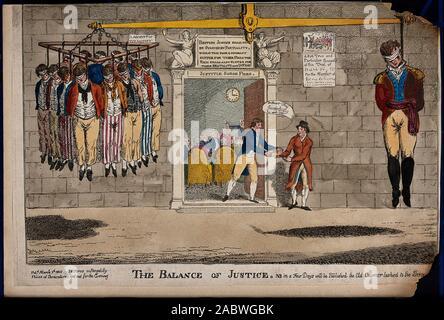 Ein Mann in Uniform der Soldat gekleidet hängt auf der einen Seite der Waage, während eine größere Anzahl an gemeinsamen Kleid auf der anderen Seite hängen. Farbige ätzen..jpg - 2 ABWGBK - Stockfoto