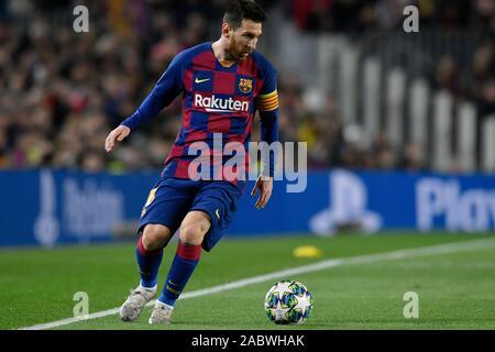 Leo Messi vom FC Barcelona feiert zählen ein Ziel während der Champions League Spiel zwischen dem FC Barcelona und Borussia Dortmund im Camp Nou Stadion in Barcelona, Spanien, 27. November 2019. - Stockfoto