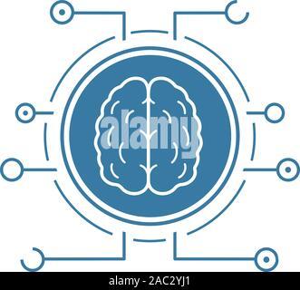 Neuronale Netze Symbol. Blaue silhouette Symbol. Menschliche Gehirn in microchip Pathways. Künstliche Intelligenz. Negativer Platz. Vektor isoliert Abbildung - Stockfoto