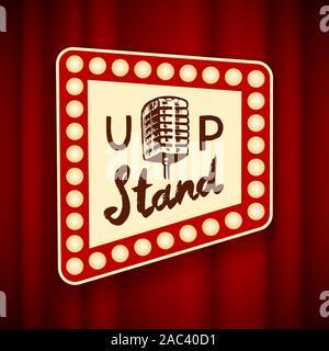 Schriftzug oben stehen. Kalligrafische text Comedy Show. Graviert Hand in alten Vintage Skizze für Poster, web Abzeichen, Label, Emblem oder Logo gezeichnet. Konzept - Stockfoto