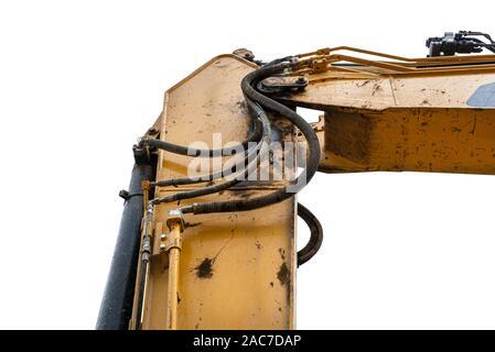 Baggerarm mit sichtbarem Öl Zylinder und Hydraulikschläuche, auf einen weißen Hintergrund mit einen Freistellungspfad isoliert. - Stockfoto