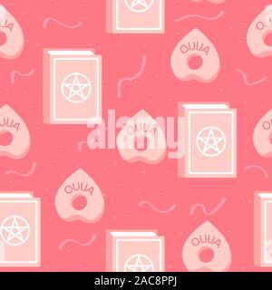 Zauberbuch und Ouija Brett Planchette, Rosa nahtlose Muster. Witchery und Spiritualismus magic Abbildung mit plastische Wirkung. - Stockfoto