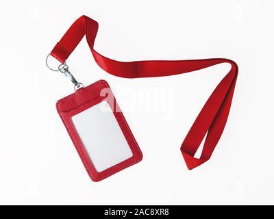 Leder Abzeichen und rot Lanyard auf weißem Hintergrund - Stockfoto