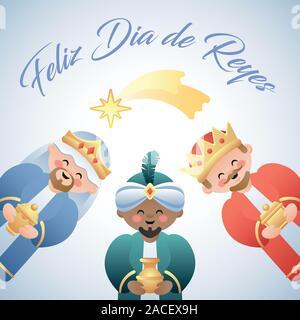 Feliz Dia de Reyes. Happy Day der Könige in Spanisch. Cute Veranschaulichung der Drei Könige oder Drei Weisen und der fallende Stern von Bethlehem. Vektor il - Stockfoto