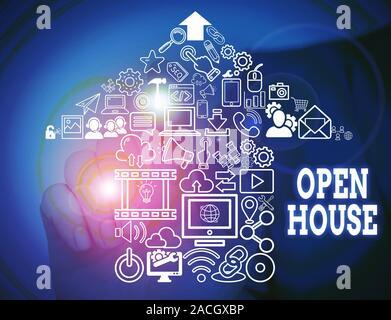 Konzeptionelle Handschrift zeigt Open House. Konzept, d. h. sie kommen kann, was auch immer wollen, fühlen Sie sich zu Hause Männliche tragen Anzug Präsentation - Stockfoto