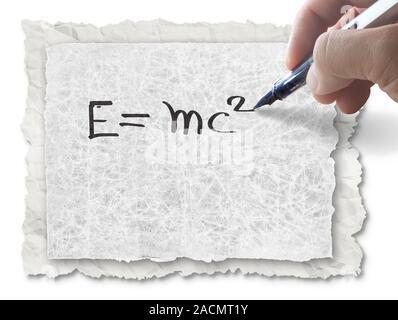 Handzeichnung E=mc2 auf Papier Stockfoto