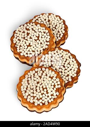 Kekse mit Schokolade pudern in einer Reihe - Stockfoto