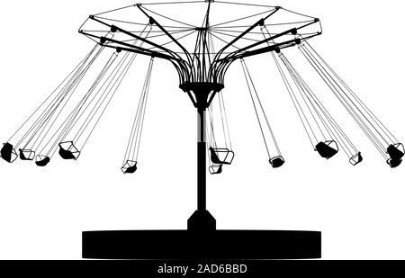 Silhouette atraktsion bunten Riesenrad. Vector Illustration. - Stockfoto