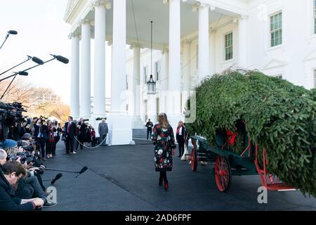Us-First Lady Melania Trump begrüßt das Weiße Haus Weihnachtsbaum durch Pferdekutsche in den Süden Rasen des Weißen Hauses November 19, 2019, Washington, DC geliefert. Der Baum wurde von Mahantongo Valley Farms, die 2019 nationalen Baum Verein Wettbewerb ihren Baum im Blue Room des Weißen Hauses platziert haben gewonnen. - Stockfoto