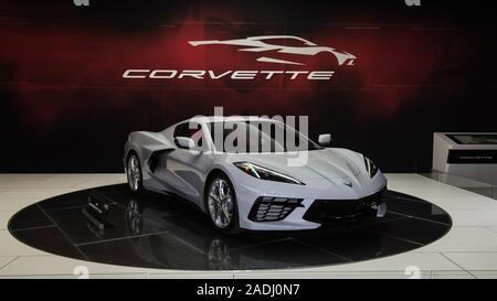 LOS ANGELES, CA/USA - November 20, 2019: 2020 Chevrolet Corvette Auto, Ceramic Matrix Grau Metallic, auf der Los Angeles Auto Show. - Stockfoto