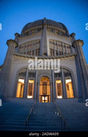 Baha'i-Haus der Andacht, ist ein Tempel, in Wilmette, Evanston, in der Gegend von Chicago, Illinois, USA