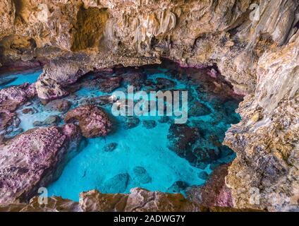 Touristen Schnorcheln in der Avaiki rock Tide Pools, Südpazifik, Niue - Stockfoto
