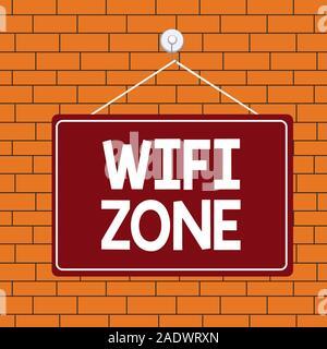 Text Zeichen angezeigt WiFi-Zone. Business Foto Text bieten Wireless Highspeed Internet- und Netzwerkverbindungen Farbige memo Erinnerung leeren Brett leer s - Stockfoto