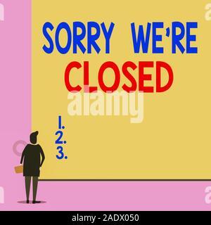 Text Zeichen zeigt leider wieder geschlossen. Business foto Präsentation Ausdruck des Bedauerns Enttäuschung nicht öffnen Zurück junge Frau gerade leer anzeigen - Stockfoto