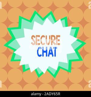 Text Zeichen zeigen den sicheren Chat. Business Foto text Ansatz Nachrichten zu schützen, wenn sie über die Corporate Asymmetrische ungleichmäßig geformte Format patte gesendet - Stockfoto