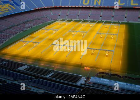 Der Pitch erhitzt das Stadion Camp Nou, Barcelona, Barcelona, Spanien. - Stockfoto