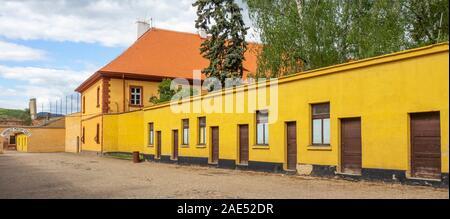 Zellblöcke in Theresienstadt Malá pevnost kleine Festung Nazi-Konzentrationslager Terezin Tschechien. - Stockfoto