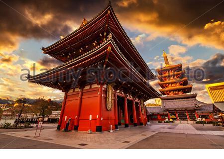 Tokio - sensoji-ji, Tempel in Asakusa bei Sonnenuntergang, Japan - Stockfoto