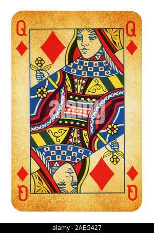 Königin des Diamanten Vintage Playing Card isoliert auf weißem (clipping path enthalten) - Stockfoto