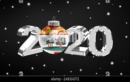 Frohes neues Jahr 2020 die Flagge von Prince Edward Island auf einem Weihnachten Spielzeug, Dekorationen auf dunklem Hintergrund. Kreative Weihnachten Konzept. - Stockfoto