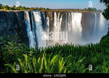 Victoria Falls, von David Livingstone im Jahr 1855 benannt nach Königin Victoria, der Wasserfall ist der Sambesi Fluss gebildet, in einen 100 Meter tiefen Ch - Stockfoto
