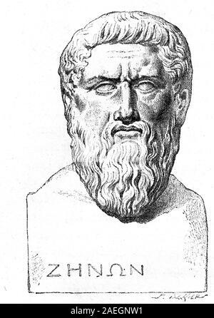 Plato, 428/427 oder 424/423-348/347 v. Chr., ein Athener Philosophen während der Klassischen Periode im alten Griechenland. /Platon, antiker griechischer Philosoph, digitale Reproduktion einer Vorlage drucken aus dem 19. Jahrhundert - Stockfoto