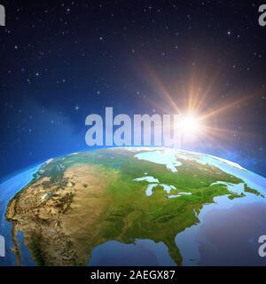 Die Oberfläche des Planeten Erde gesehen von einem Satelliten, auf Nordamerika, Sonne im tiefen Raum konzentriert. 3D-Illustration - Elemente dieses Bild Fell - Stockfoto