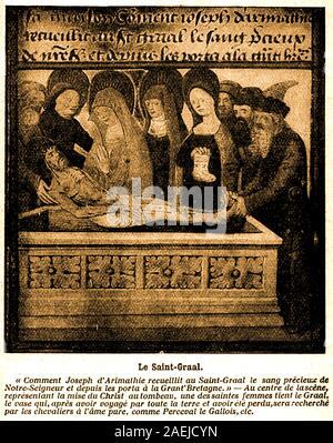 """Heiligen Blut/heilige Gral - eine 30er Abbildung: Alte französische mittelalterliche Handschrift, die Übersetzung des Lateinischen, ist in französischer Sprache - etwa in Englisch übersetzt es liest wie: - """"Wie Joseph von Arimathia das kostbare Blut unseres Herrn in der Heiligen Gral gesammelt, und von da an nach Großbritannien gebracht. In der Mitte der Szene, die für das Inverkehrbringen von Christus im Grab, einem der heiligen Frauen hält den Gral, die Vase, die, nachdem sie durch die ganze Welt gereist und haben verloren gegangen, wird rauschen durch die Tempelritter mit der reinen Seelen, wie Parzival der Waliser etc."""" - Stockfoto"""