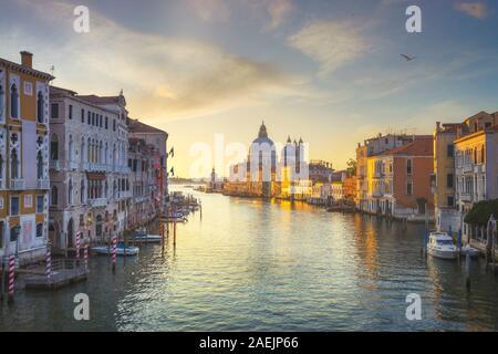 Blick auf den Canal Grande in Venedig, Santa Maria della Salute Kirche Sehenswürdigkeiten bei Sonnenaufgang. Italien, Europa.
