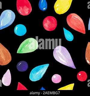 Aquarell Abbildung: Eine nahtlose Muster von bunten Wassertropfen auf einem schwarzen Hintergrund. Hand gemalte Muster für Gewebe, digitales papier, postc - Stockfoto