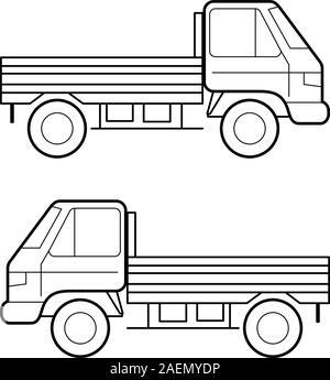 Auto, schwarze Vektorlinien auf weißem Hintergrund