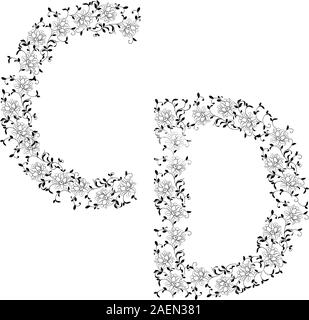 Hand-Zeichnung ornamentalen Alphabet. Brief-CD - Stockfoto