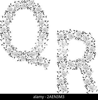 Hand-Zeichnung ornamentalen Alphabet. Brief QR - Stockfoto