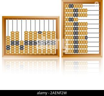 Abacus Accounting für Finanzberechnungen liegt auf einem weißen Hintergrund - Stockfoto