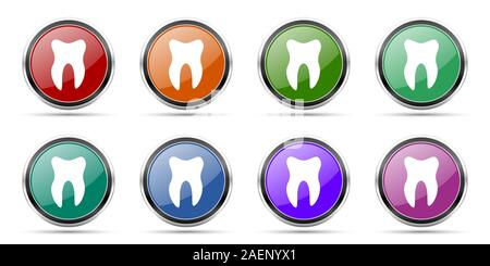 Zahn Symbole, die runde glänzend Web Buttons mit silber-metallic Chrom Grenzen auf weißem Hintergrund in 8 Optionen isolierte Gruppe - Stockfoto