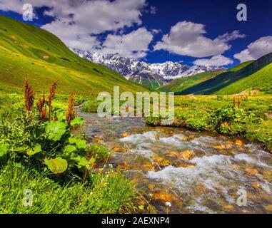 Fantastische Landschaft mit einem Fluss in den Bergen. Obere Swanetien, Georgien, Europa. Kaukasus Berge. - Stockfoto