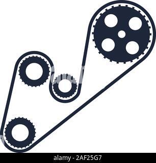 Auto Zahnräder und Kette Stück flach Symbol - Stockfoto