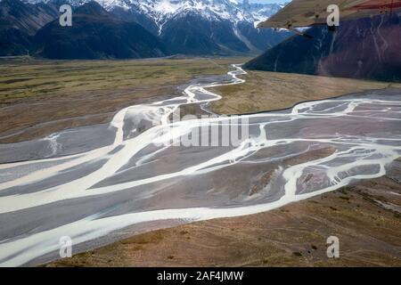 Mount Cook National Park Gletscher und Gletscherlandschaft in Aoraki, South Island, Neuseeland, Aotearoa - Stockfoto