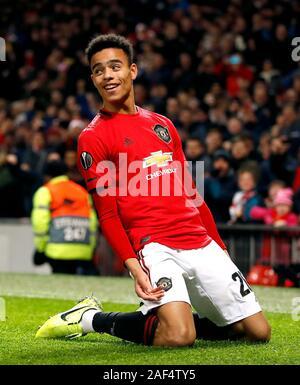 Von Manchester United Maurer Wald feiert seine Seiten zweite Ziel während der UEFA Europa League Spiel im Old Trafford, Manchester.