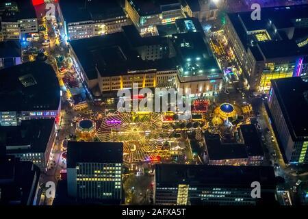 Luftbild, Kennedyplatz, Weihnachtsmarkt Essen, historischer Markt Essen, Ostviertel, Essen, Ruhrgebiet, Nordrhein-Westfalen, Deutschland, DE, Europa