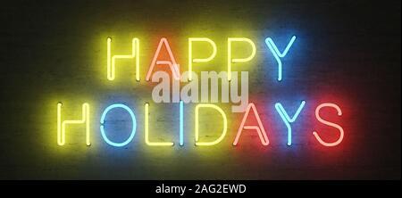 Farbige Leuchtreklame, happy holidays, Mock-up mit zentrierter Text, 3D-Rendering, 3D-Darstellung - Stockfoto