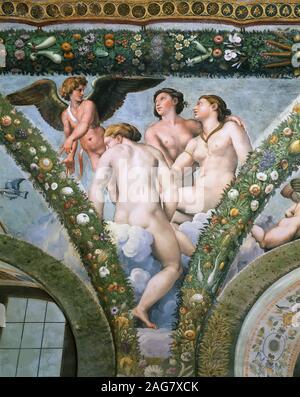 Amor und die Drei Grazien, 1517-1518. In der Sammlung der Villa Farnesina, Rom gefunden. - Stockfoto