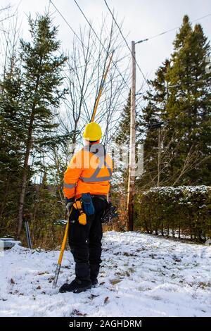 Ein telecom Engineer ist mit einem langen Stock oben auf einem telegrafenmast zu erreichen, tragen hohe Sichtbarkeit sicherheit kleidung und einen harten Hut. - Stockfoto