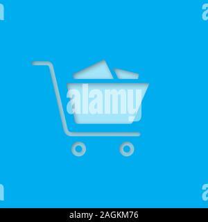 Einkaufswagen Papier schneiden Sie Symbol. Einkäufe. Vektor silhouette isoliert Abbildung - Stockfoto