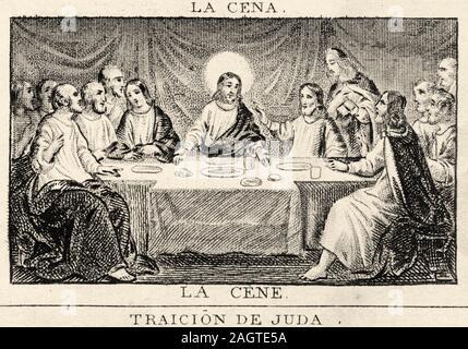 Eine alte eingravierten Abbildung Bild Der Verrat des Judas, der beim Letzten Abendmahl. Geschichte Frankreichs, aus dem Buch Atlas de la France 1842 - Stockfoto