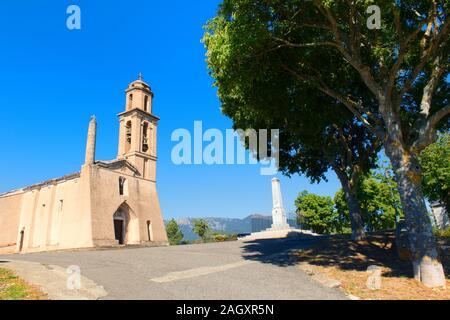 Kleines Bergdorf Prunelli di Fiumorbo auf Korsika in Frankreich - Stockfoto