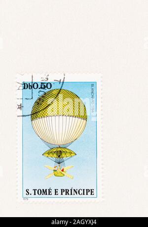 SEATTLE WASHINGON - Oktober 5, 2019: Stempel 1979 ausgestellt, zum Gedenken an den ersten erfolgreichen Wasserstoff Ballonfahrt der Erfinder und Ballonfahrer Jean - Stockfoto