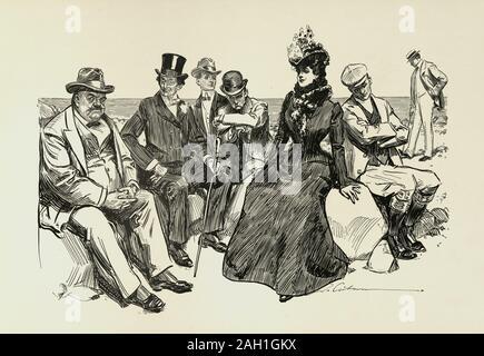 Eine Witwe und ihre Freunde, Charles Dana Gibson. Nicht Ruhe und ruhig im Land zu finden, beschließt sie, nach Hause zurückzukehren. - Stockfoto
