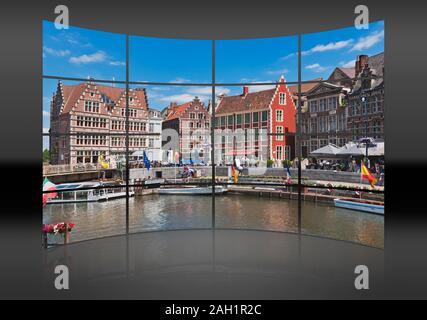 Blick von der Korenlei über den Fluss Lys auf die historischen Häuser der Graslei, Gent, Belgien, Europa - Stockfoto