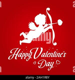 Happy Valentine's Day Amor mit Schrift Typografie Karte. Handschriftliche Kalligraphie Text, roter Farbverlauf Hintergrund. Elegante und klassische Zitat Stockfoto